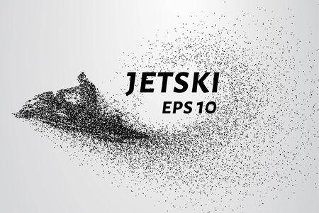 Jetski de particules. Les vagues se précipiter jetski.