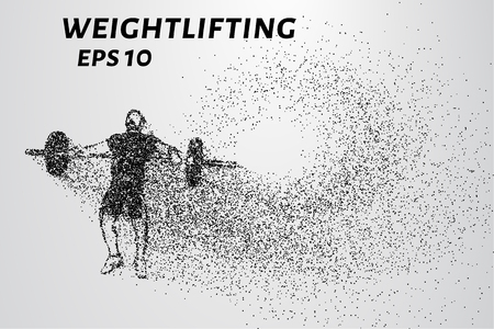 Weightlifting of particles. Athlete raises the bar in the snatch. Illustration