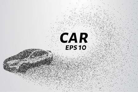 Car from the particles. The car disintegrates to smaller molecules. Vector illustration.