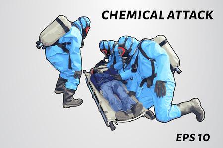 La gente en la protección química salvar a la víctima. Recostado sobre una camilla hombre gaseados. ilustración vectorial Vectores