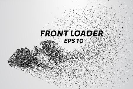 cargador frontal: cargador frontal de las partículas. Equipo de construcción se dispersa en pequeñas moléculas. ilustración vectorial