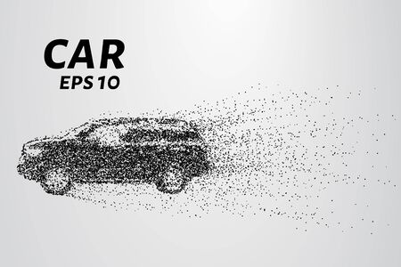 breaks: Car from the particles. The car breaks down into molecules. The car consists of circles blown away by the wind.