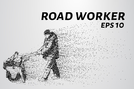 road work: Road worker of the particles. Road worker leveled asphalt. Road work with roller.