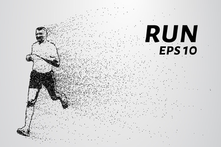 run out: Run out of particles. Run out of points and circles. Runner breaks down into smaller molecules.
