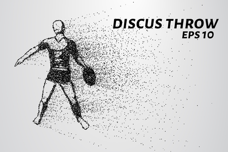 throwing: Throwing discus from the particles. The throwing of the discus of dots and circles. Throwing the discus into smaller molecules. Illustration