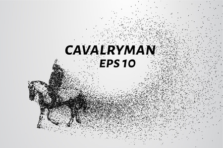 Cavalryman of the particles. A cavalryman on a horse. The cavalry consists of dots and circles.