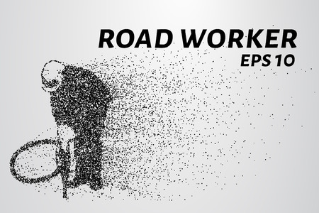 presslufthammer: Road worker of the particles. Road worker with a jackhammer. Illustration