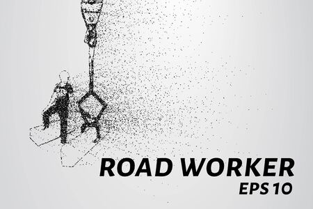 arranging: Road worker of the particles. Road worker puts a curb. Illustration
