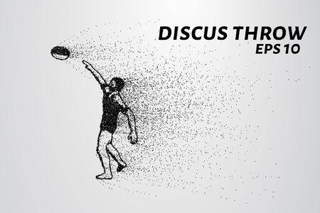 lanzamiento de disco: lanzamiento de disco de partículas. El atleta lanza el disco. Discus consiste en círculos y puntos. ilustración vectorial Vectores