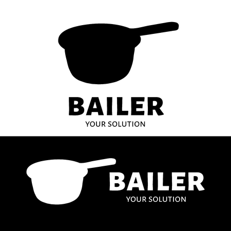 bailer: Bailer vector logo. Brand logo in the shape of a bailer Illustration