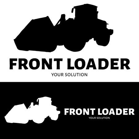 loader: Front loader vector logo. Silhouette front loader