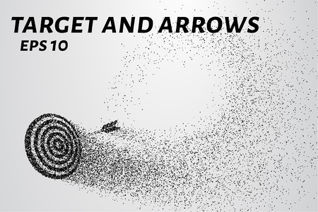 The target and the arrow of the particles. The target and the arrow is composed of small circles and dots. Vector illustration