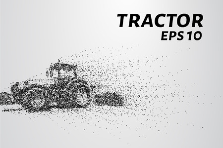 Tractor of the particles. The tractor breaks down into small circles and dots.