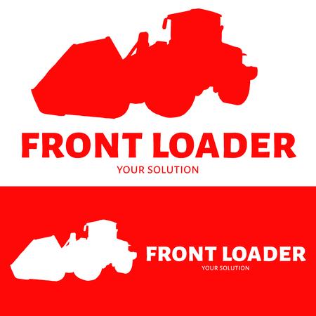 cargador frontal: logo cargador frontal vector. Silueta cargador frontal. el logo de la marca de fábrica en forma de un cargador frontal.