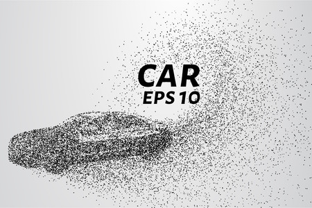 disappear: Car from the particles. The vehicle consists of small circles