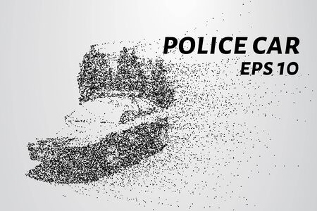 Police car of the particles. Police car consists of dots and circles. Vector illustration. Stock Illustratie