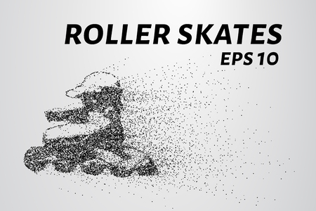 consist: Roller skates of the particles. Roller skates consist of circles and dots. Vector illustration.