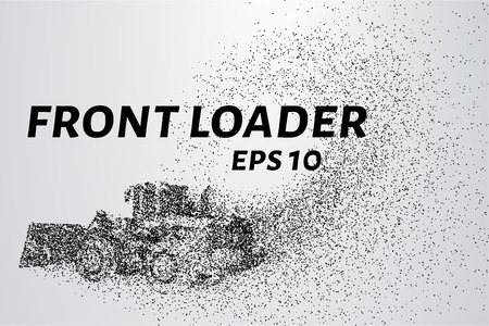 loader: Front loader from the particles. Front loader consists of circles and points. Vector illustration.