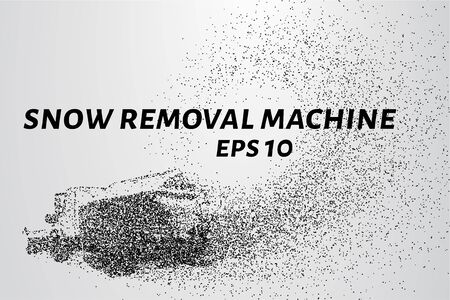 removal: Snow removal machine particles. Snow removal machine consists of circles and points. Vector illustration.