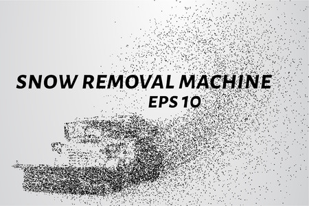 removal: Machine with a plow removes snow and spreads sand. Snow removal equipment consists of circles and points. Vector illustration. Illustration
