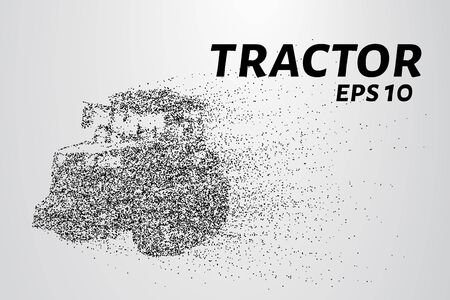 cultivator: Tractor of the particles. Tractor on tracks consists of circles and points. Vector illustration.