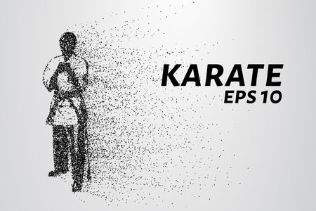 kyokushinkai: Karate of particles. Karate consists of circles and points. Vector illustration.