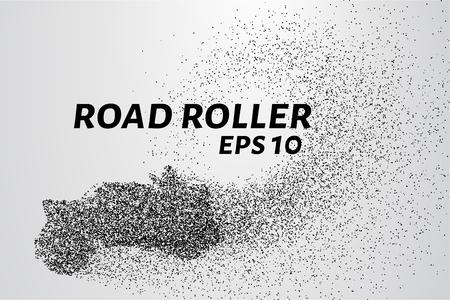 Rouleau de route de particules. rouleau de route pose l'asphalte. Vector illustration. Banque d'images - 68052864