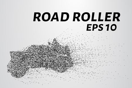 pave: Road roller of particles. Road roller lays the asphalt. Vector illustration.