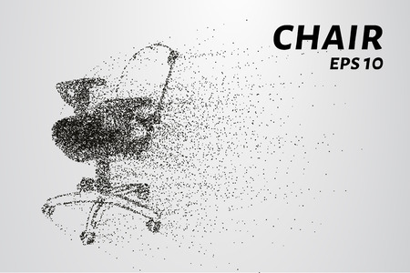 small group of objects: The chair of the particle. Silhouette chair on wheels consists of circles and points. Vector illustration.