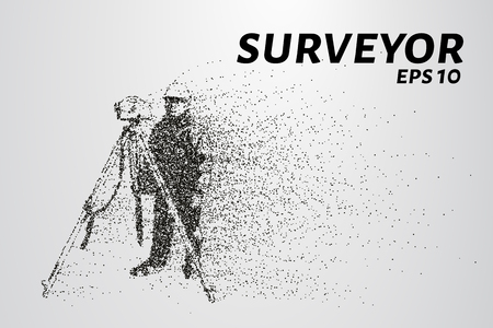 Surveyor of the particles. The silhouette of the surveyor consists of circles and points. Vector illustration.