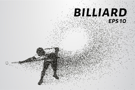 Billiards of particles. Silhouette of Billiards player consists of points and circles. Vector illustration. Illustration