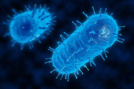 infectious disease: 3D render of a bacterium. The virus infects cells of the immune system