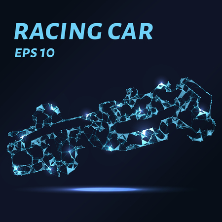 Racing car consists of points, lines and triangles. The polygon shape in the form of a silhouette racing car on a dark background. Vector illustration