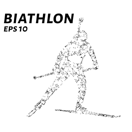 consist: The biathlon consists of points, lines and triangles. The polygon shape in the form of a silhouette on a dark background. Vector illustration