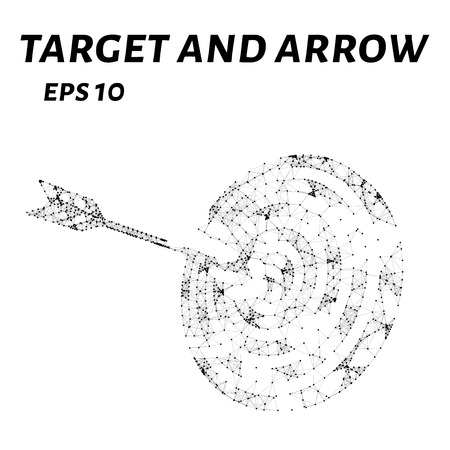 targets: The target of the arrow consists of points, lines and triangles. The polygon shape in the form of a silhouette target and arrows on a white background. Vector illustration.