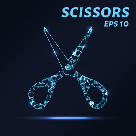 scissors: The scissors consists of points, lines and triangles. The polygon shape in the form of a silhouette of scissors on dark background Vector illustration