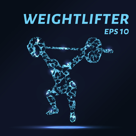 Weightlifting consists of points, lines and triangles. The polygon shape in the form of a silhouette weightlifter on a dark background Vector illustration