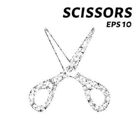 scissors: The scissors consists of points, lines and triangles. The polygon shape in the form of a silhouette of scissors on white background. Vector illustration Illustration