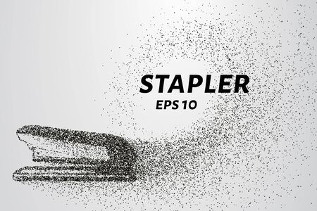 office stapler: The stapler of the particles. The stapler consists of small circles and dots. Vector illustration