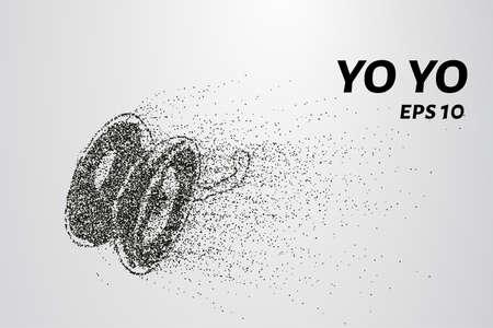 play yoyo: Yo yo of the particles. Yo yo consists of small circles and dots. Vector illustration