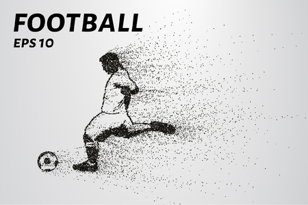 soccer goal: Football of the particles. Silhouette of a football player consists of circles and points. Vector illustration Illustration