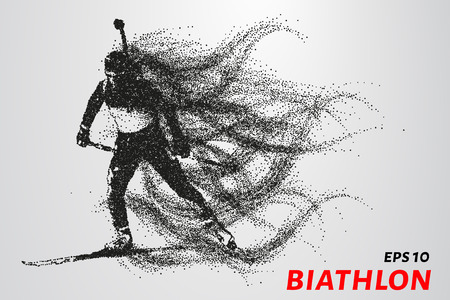 The biathlon is made up of particles. The biathlon consists of circles and points. Vector illustration. Illusztráció