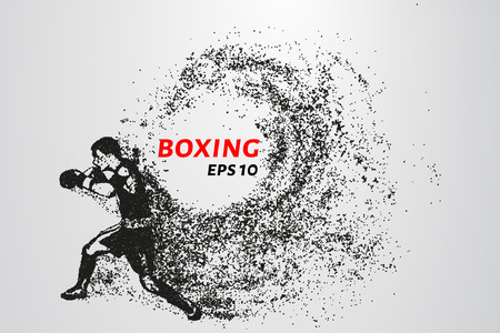 Boxer of the particles. The boxer is made of little circles. The boxer in the pose of attack. Vector illustration.