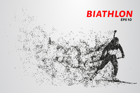 The biathlon is made up of particles. The biathlon consists of circles and points. Vector illustration Illusztráció