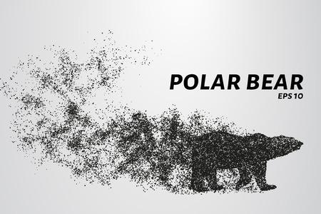 粒子からシロクマ。クマは、ドットやサークルで構成されています。ベクトル図  イラスト・ベクター素材