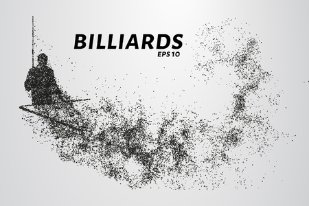 Billiards of particles. Silhouette of Billiards player consists of points and circles. Vector illustration Stock fotó - 81582350