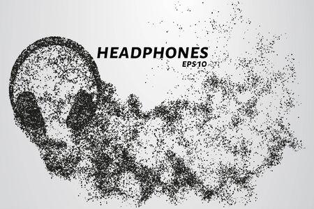 Headphones from particles. Headphones consist of circles and dots. Headphones crumble into small pieces