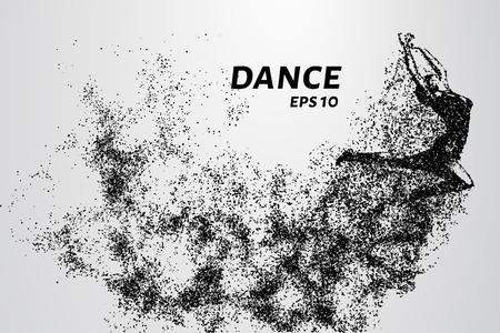 Danse des particules. Danse de fille en saut. Un danseur exerce des éléments acrobatiques Vecteurs