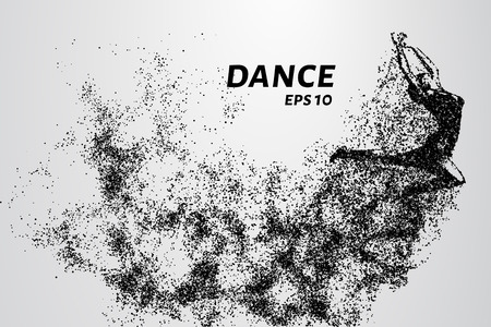 Dance of the particles. Girl dancing in jump. A dancer performs acrobatic elements