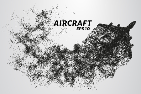 The plane of the particles. The plane disintegrates to smaller molecules. vector illustration.